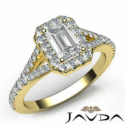 Halo Split Shank U Pave Set Emerald Shape Diamond Engagement Ring GIA H VS2 1Ct 7