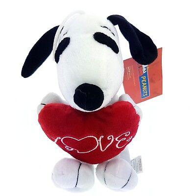 Snoopy Stofftier (Peanuts Snoopy Hund Stofftier weiß Herz Love rot  Schmusetier Kuscheltier 21cm)