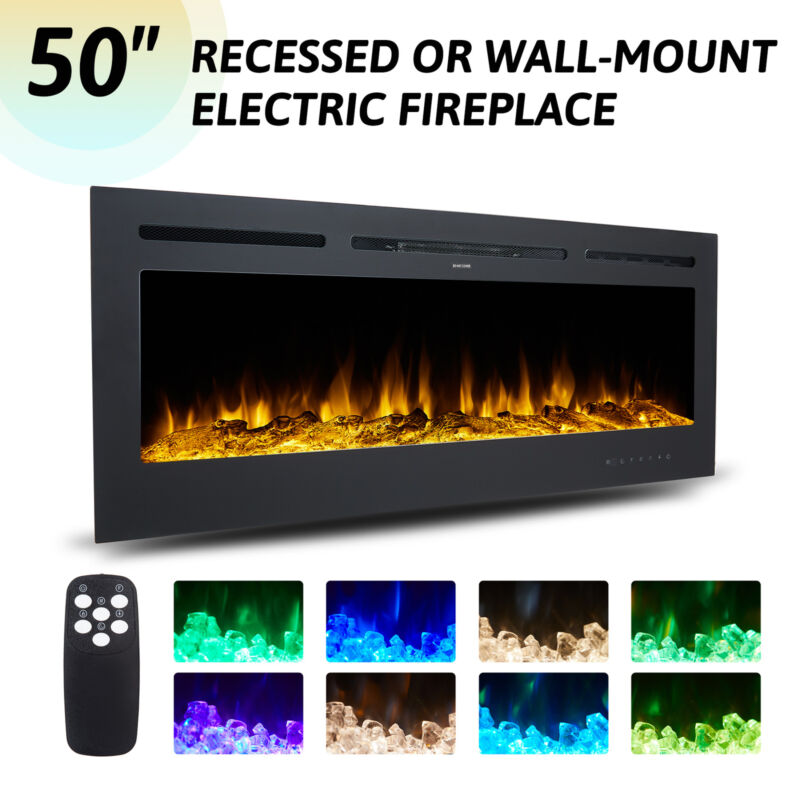 """50"""" Electric Fireplace Recessed / Wall Mounted 750W 1500W Embedded Space Heater"""