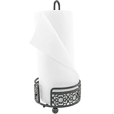 Countertop Ornate Metal Paper Towel Holder Black Rustic Pretty like Wrought Iron Home & Garden