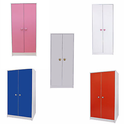 Wardrobe 2 Door Bedroom Furniture Kids Storage with Hanging Rail Childrens -8824