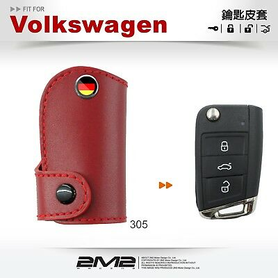 Leather Key fob Holder Case Chain Cover FIT For Volkswagen Golf GTI Tiguan MK7