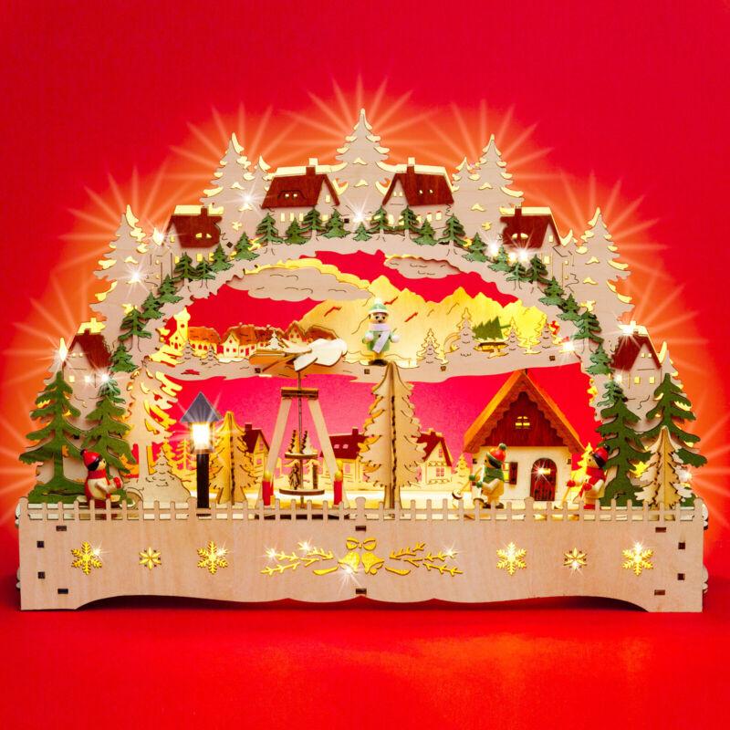SIKORA LB76 Illuminated Wooden Christmas Arch Decoration with Pyramid & Lantern