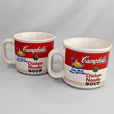 Pair of Campbells Chicken Noodle Soup Mugs Classic Design Feel Mm Mm Better 1997 Classic Chicken Noodle Soup