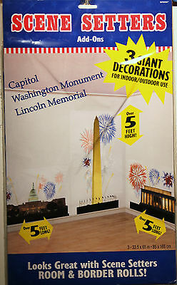 4TH OF JULY WALL DECORATIONS Firework Party Supply US Patriotic Scene Setter NEW