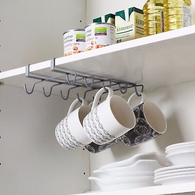 Under Shelf Coffee Cup Mug Holder Hanger Storage Rack For Kitchen Cupboard