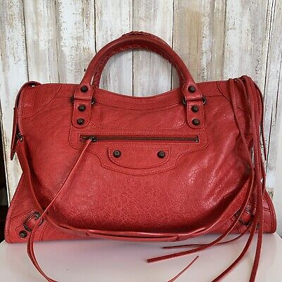 BALENCIAGA The City Shoulder Hand Bag Rouge Cardinal Red Leather Italy MINT