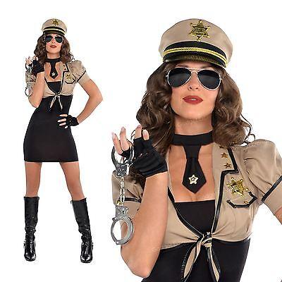 Erwachsene Damen Sexy Sheriff US Polizist Polizei-Anzug Damenmode Kleid Kostüm (Mode Polizei Kostüm)