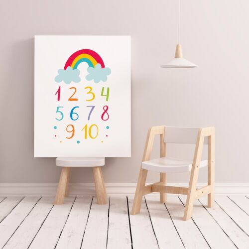 Numbers 1-10 Bedroom Print / Picture for Playroom Kids Room Bright Colourful