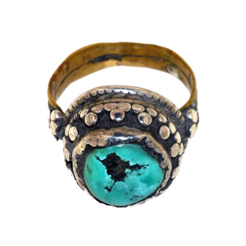 (3123) Antique Tibetan Turquoise, Brass and Silver Ring