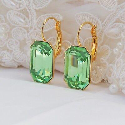 Rectangle Peridot Earrings CRYSTALLIZED™ Swarovski Elements Bridal Green Gold Element Jewelry Rectangle Earrings