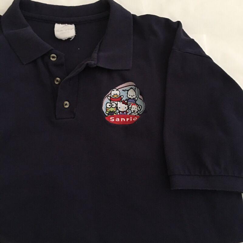 Vintage Sanrio Hello Kitty Store Employee Embroidered Polo Shirt 1990's Men's XL