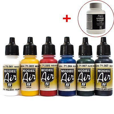 Vallejo Airbrush Farben Set 6x 17ml *Basis + 85ml Cleaner Airbrushfarben