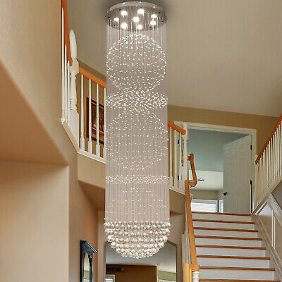 K9 Crystal Glass Fixture Rainfall Chandeliers Light Stainless Steel Hallway with