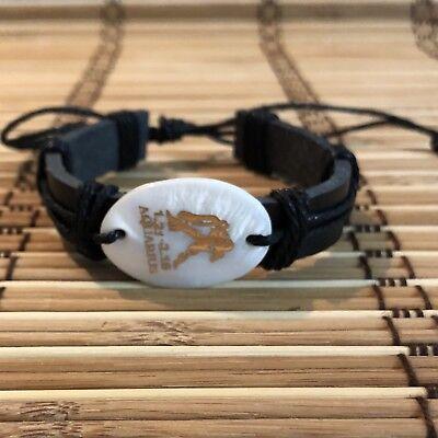 Aquarius Horoscope Leather Bracelet Adjustable Fashion Leather Leather Bracelet