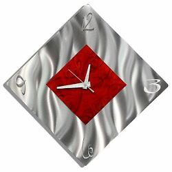 Statements2000 Modern Metal Wall Clock Art Red Silver Accent Decor Jon Allen