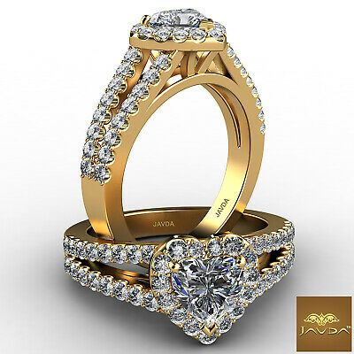 Halo French Pave Split Shank Heart Cut Diamond Engagement Ring GIA F VS1 1.25Ct 4