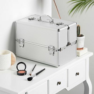 "Beautify Large Silver 14"" Train Case Cosmetic Makeup Organizer Storage Box"