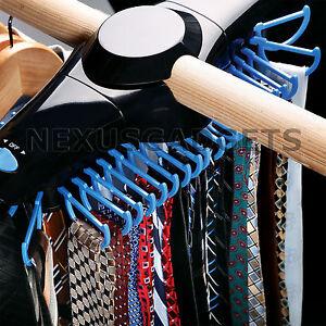 Revolving Motorized Tie Belt Rack Holder For Closet Rods W