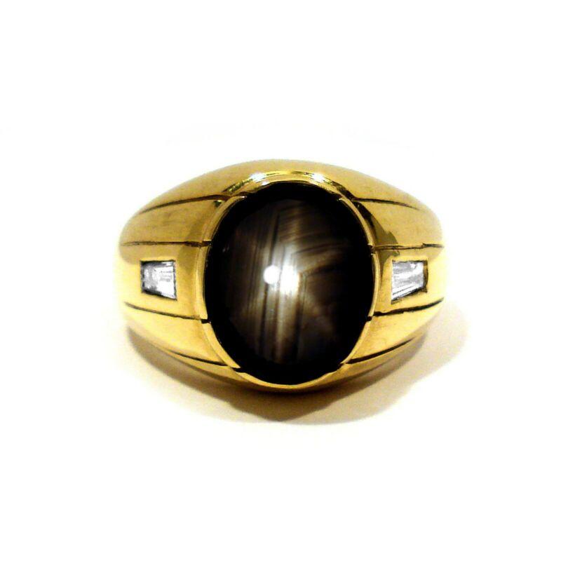 SOLID 14K YELLOW GOLD BLACK STAR SAPPHIRE & DIAMONDS RING ~ SIZE 11