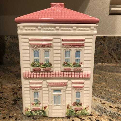 Weiss Handpainted Ceramic Pink & White Victorian House Cookie Jar w/ Trees