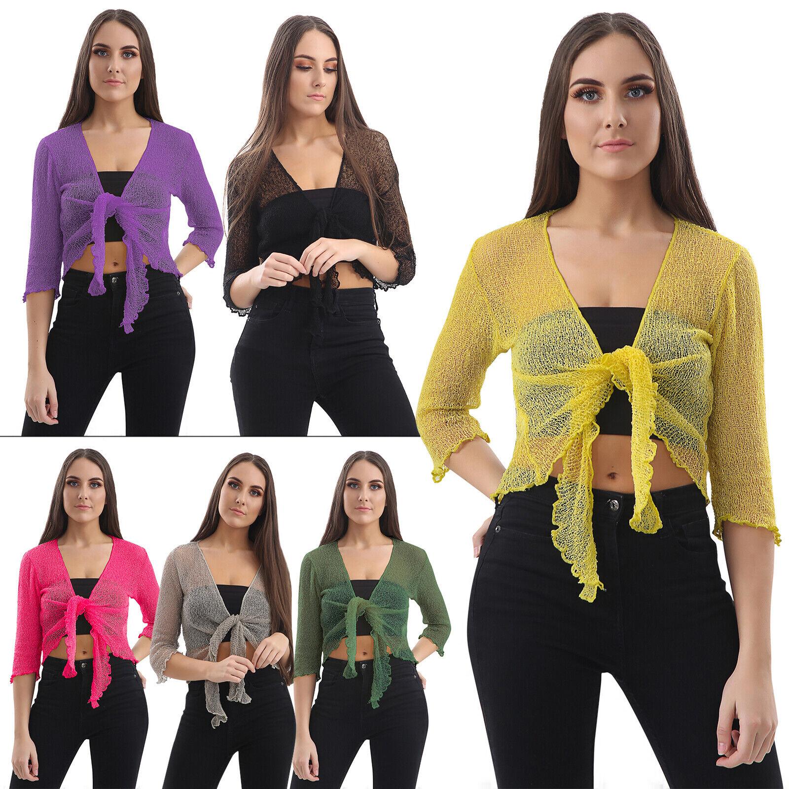 Womens Ladies Cap Sleeve Tie Up Front Cropped Bolero Shrug Crop Cardigan Top UK