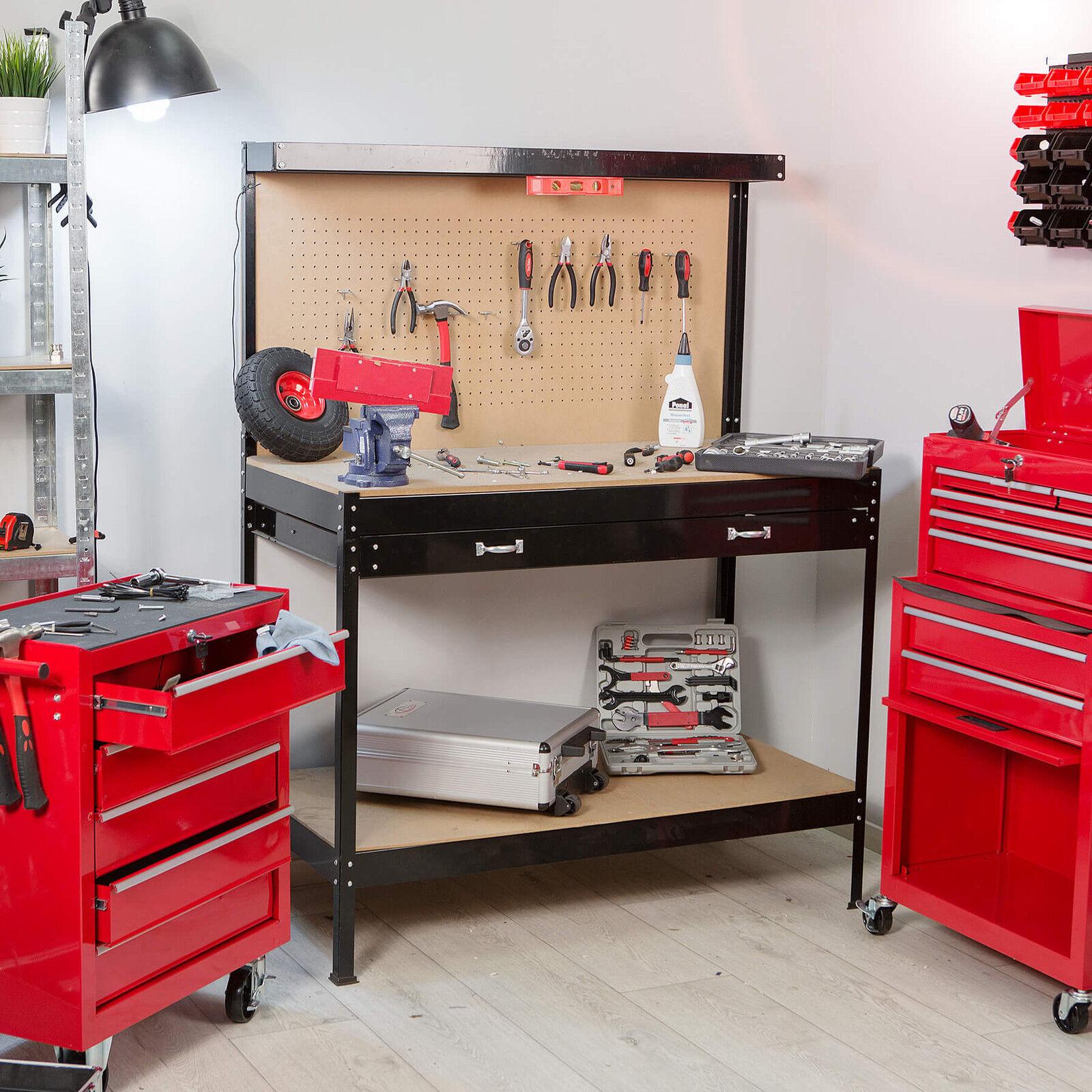 tabli d 39 atelier 156x60x120 cm avec panneau outils et tiroir de rangement eur 81 90. Black Bedroom Furniture Sets. Home Design Ideas