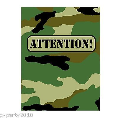 MILITARY CAMOUFLAGE INVITATIONS (8) ~ Birthday Party Supplies Stationery Army (Military Birthday Supplies)