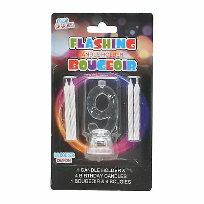 Birthday Candle Number 9 Flashing Colour Changing with 4 Candle Cake Decoration