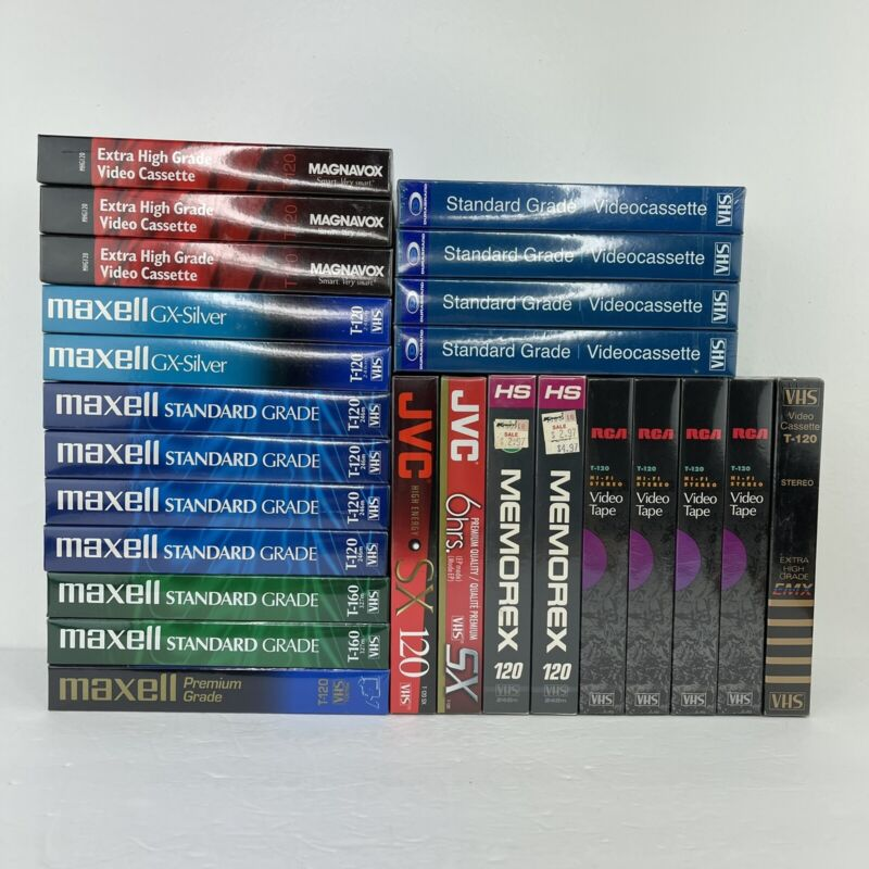 Mixed Lot of 25 Blank Maxell, RCA, Magnavox, More VHS Video Tapes - New & Sealed