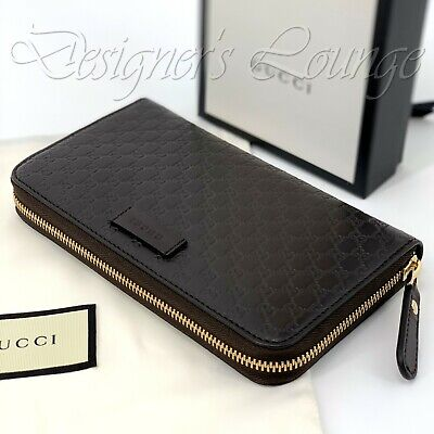 NIB GUCCI Micro Guccissima G Wallet Brown Leather Quilted Zip Around 449391 Auth