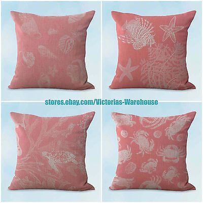 US SELLER- 4pcs decor pillows cheap cushion covers beach nautical coral seaweed
