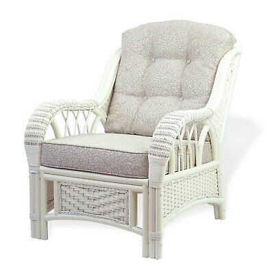 Alexa Living Armchair White Color with Cushion Natural Rattan Wicker Handmade ()