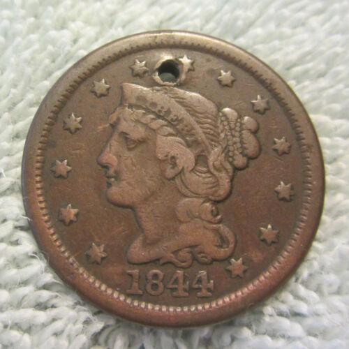 1844/81 overdate error 44 over 81 braided hair large cent 1844 penny N-2