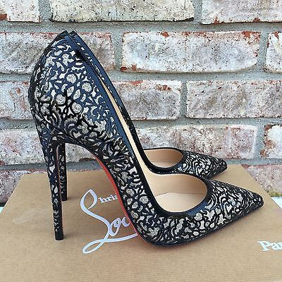 Christian Louboutin So Pretty 120 Wedding Glitter Pumps Black Silver Size 38