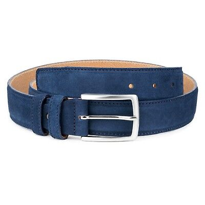 Suede Designer Belt (Suede Italian leather belt Men's belts online Casual summer Designer NAVY Blue )