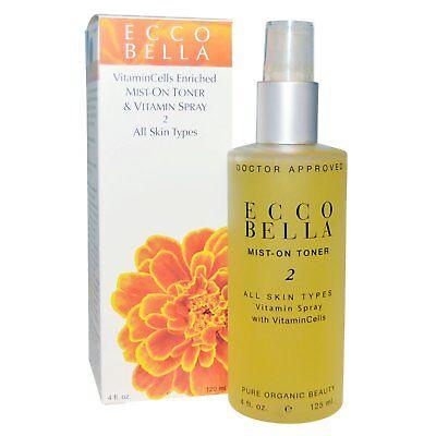 (Ecco Bella Mist-on Toner & Vitamin Spray 2 All Skin Types - 4 oz Vegan)