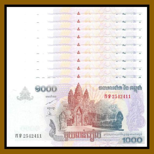 Cambodia 1000 (1,000) Riels x 10 Pcs, 2007 P-58b UNC