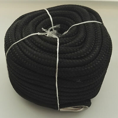 - 1/2″ X 100′ ANCHOR LINE BLACK DOUBLE BRAID NYLON ROPE W/ STAINLESS STEEL THIMBLE