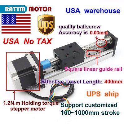 Us 1605 Cnc Ball Screw Linear Slide Stroke L400mm Z Axis Nema23 Stepper Motor