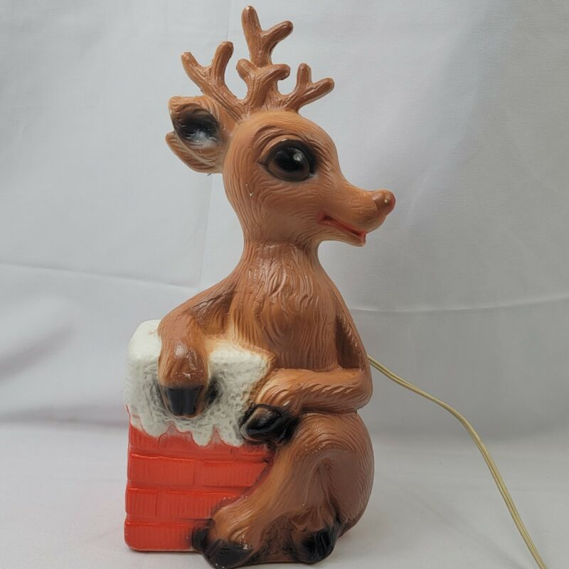 Vintage Reindeer By Chimney Christmas Blow Mold Rudolph Rare!