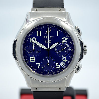 Hublot MDM 1810.1 Blue Steel Chronograph Automatic Date Wristwatch