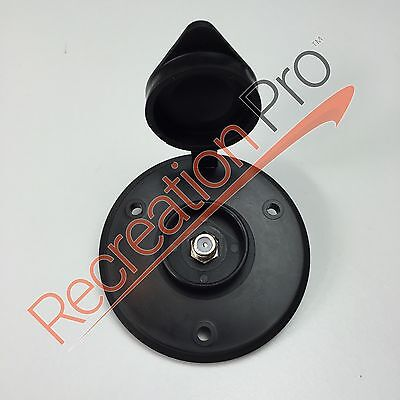 New RV BLACK CABLE TV RECEPTICAL Round Plate Camper Park Model Pop-Up Trailer
