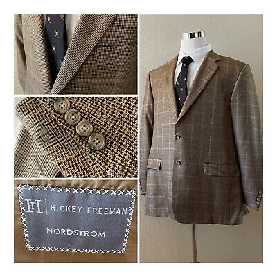 HICKEY FREEMAN  46R Recent Houndstooth Plaid Jacket Silk Wool Blend Madison