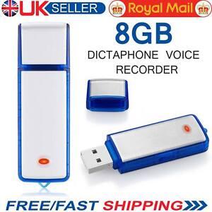 8GB Digital USB Dictaphone Recorder Spy Voice Listening Device Memory Stick UK