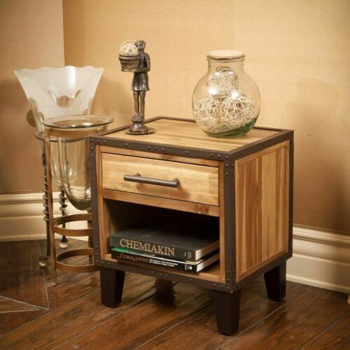 Glendora Industrial Solid Wood Single Drawer End Table Nightstand Furniture