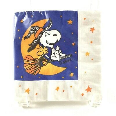 Vtg Hallmark Halloween Snoopy Witch Small Napkins Woodstock 10 Inch Nip Nos 16
