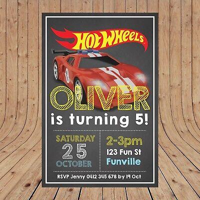 Personalised HOT WHEELS Birthday Party Kids Invitations DIGITAL - YOU PRINT - Hot Wheels Birthday Invitations