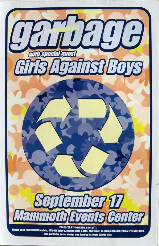 GARBAGE / GIRLS AGAINST BOYS 1997 DENVER CONCERT TOUR POSTER - Alt Rock Music