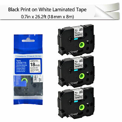 3pk Black On White Label Tape For Brother P-touch Pt-2730 Tz Tze-241 0.7 18mm